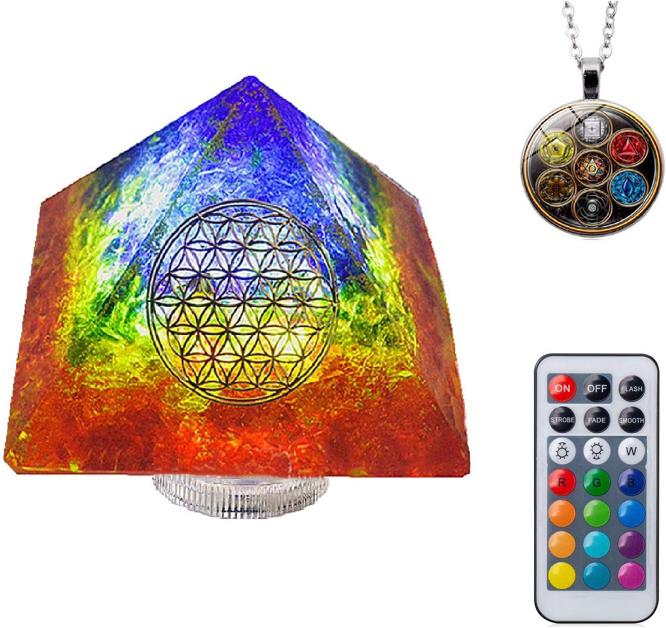 7Colors Orgone Pyramid Night Light with Crystal &Led Lights, 7 Colors Sands& (3.7×3.7×2.7inch) (CR2032))