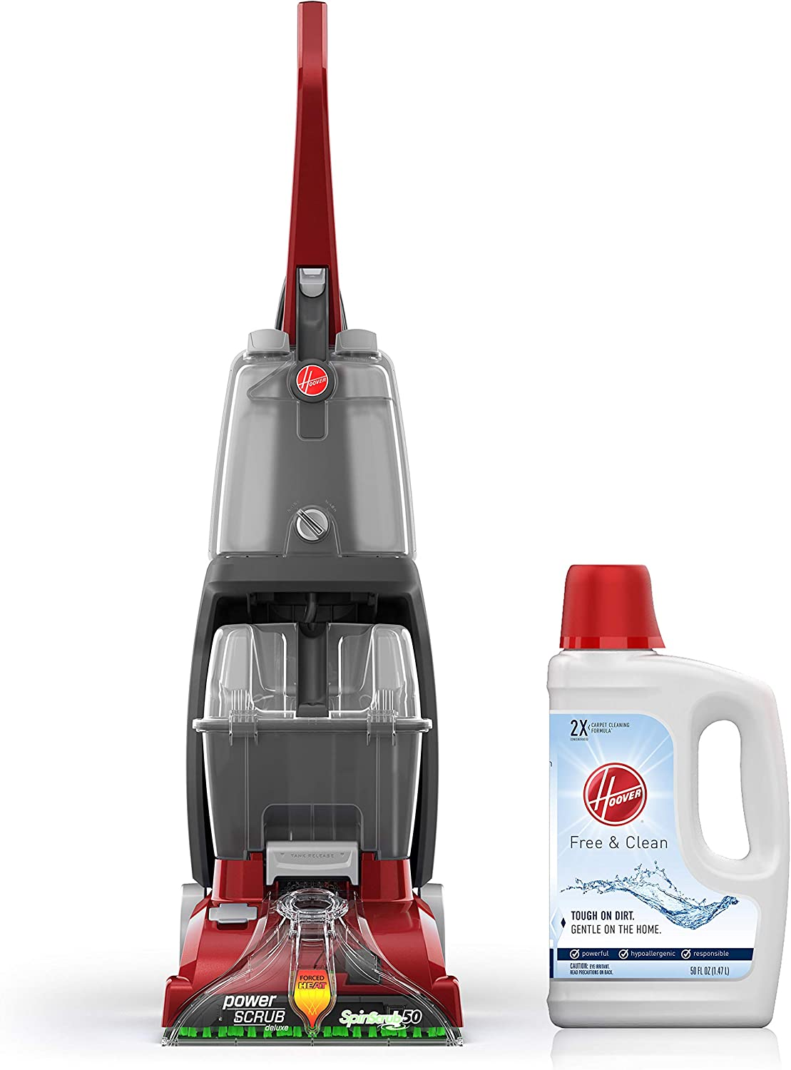 Hoover Power Scrub Deluxe Carpet Washer with Free & Clean Carpet Cleaning Solution (50 oz), FH50150, AH30952
