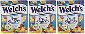 Welchs Fruit Snacks Mixed Fruit Fat Free Snacks, 3 Pack (80 Count Pouches)