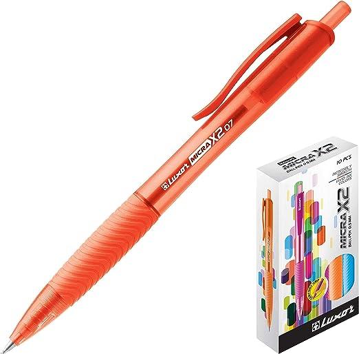 Luxor Micra X2 - Pack de 10 bolígrafos, color rojo: Amazon.es: Oficina y papelería