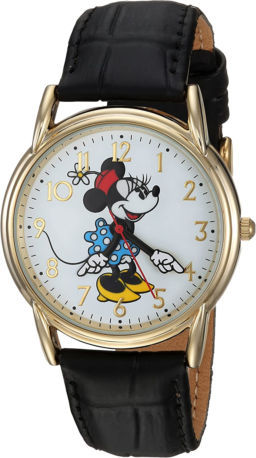 DISNEY Women's Minnie Mouse Analog-Quartz Watch with Leather-Synthetic Strap, Black, 14 (Model: WDS000410)