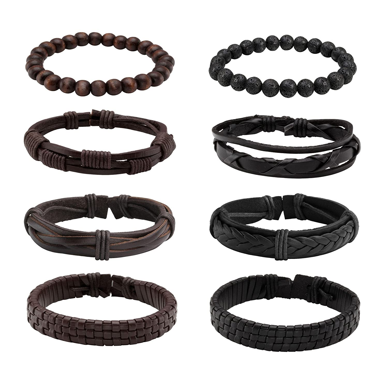Milakoo 10 Pcs Braided Leather Bracelets for Men Women Wooden Beaded Bracelets Wrap Adjustable