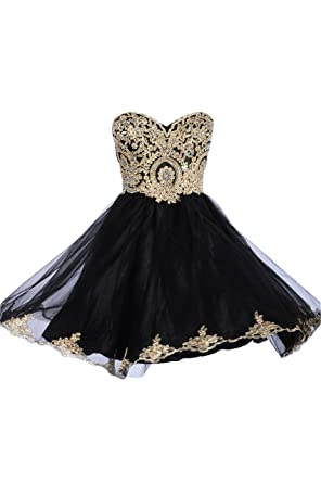 99Gown Junior Prom Dresses Short Lace Prom Homecoming Dresses Affordable Beautiful Sparkly Dress, Color Black