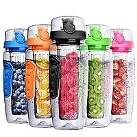OMORC Botella Agua Deportiva, 1 Litro con Filtro Infusor de Fruta, Sport Water Bottle