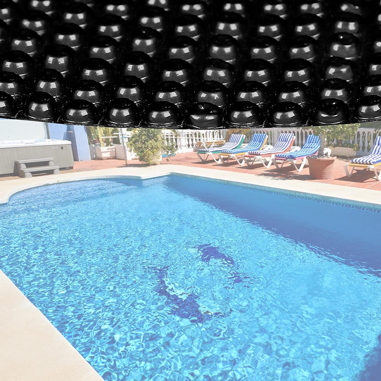 Bâche solaire à bulles pour piscine Ronde Ø 3.6m Noire Protection Couverture Chauffage de piscine WilTec