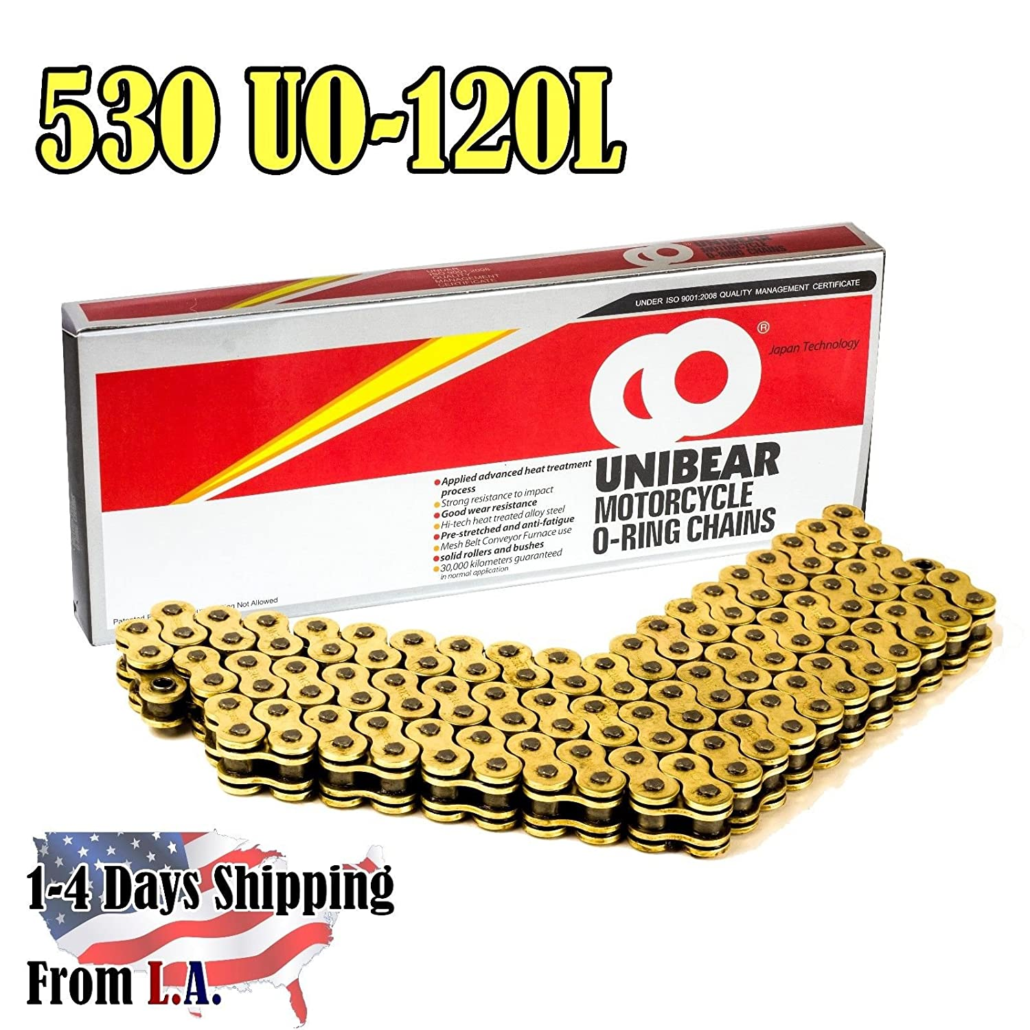 530 Gold Motorcycle O-Ring Chain 120 Links with 1 Connecting Link Unibear 530UO-130L