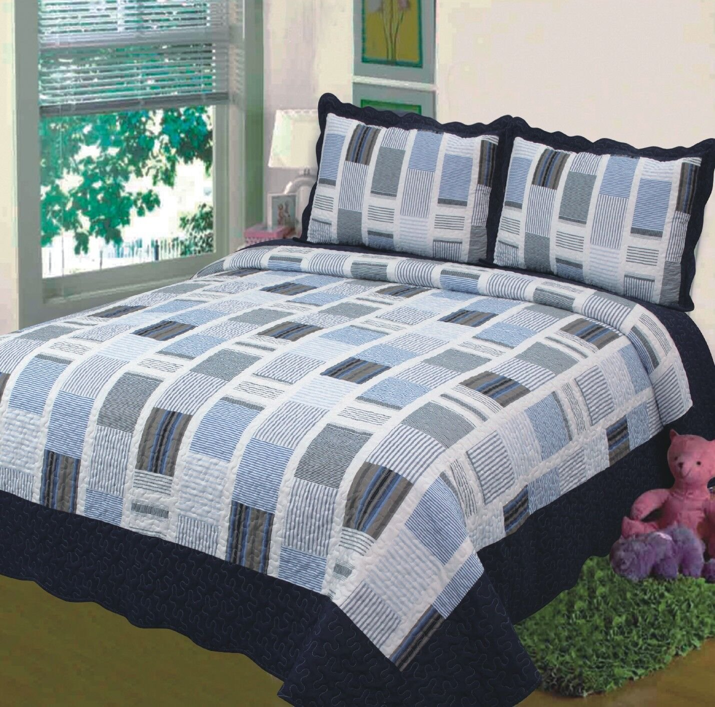 Fancy Collection 3pc Bedspread Bed Cover White Navy Squares Full//Queen Over size 100x106 COMIN18JU054426