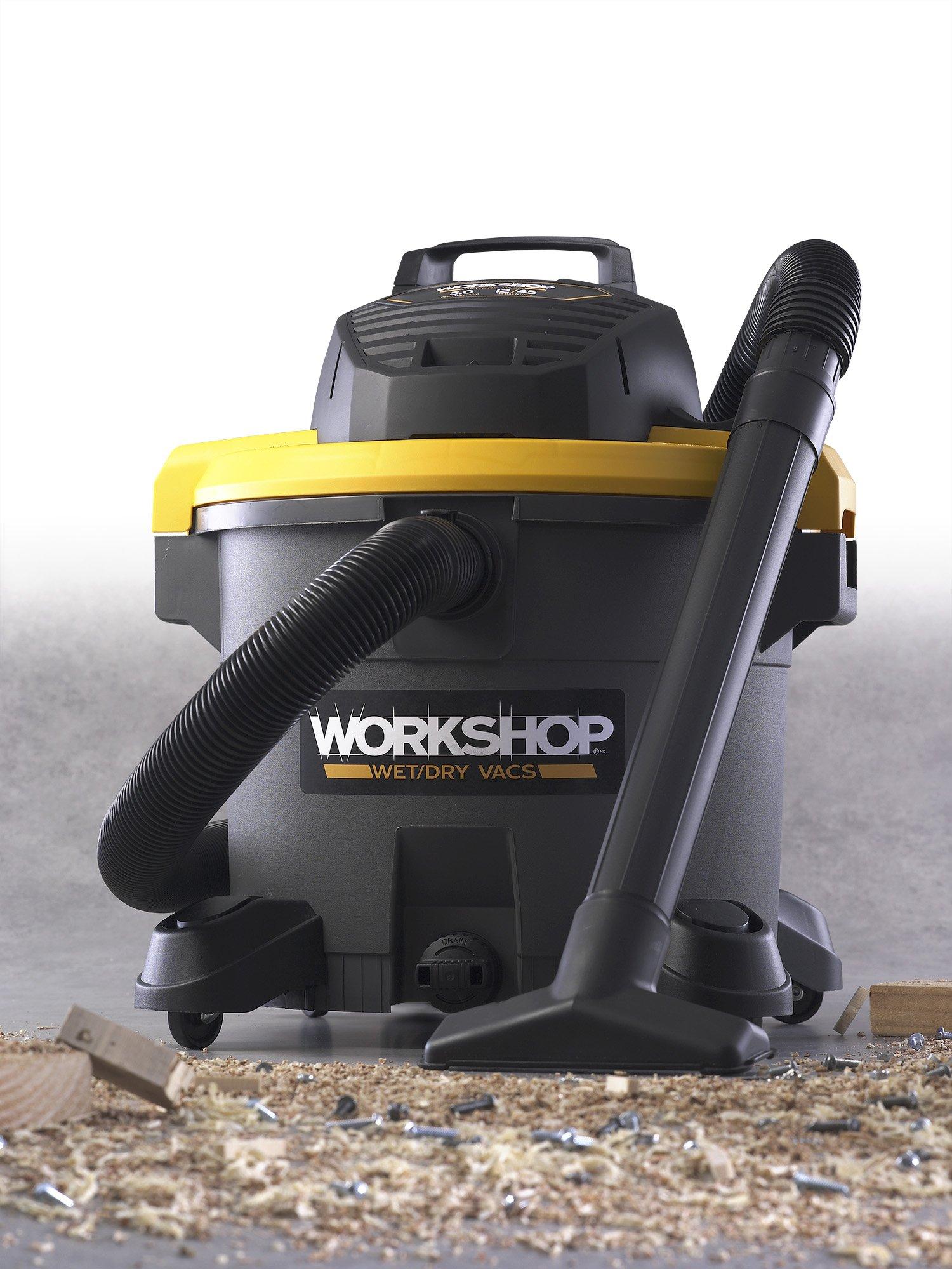 WORKSHOP Wet Dry Vac WS1200VA Heavy Duty General Purpose Wet Dry Vacuum Cleaner, 12-Gallon Shop Vacuum Cleaner, 5.0 Peak HP Wet And Dry Vacuum by Workshop (Image #2)