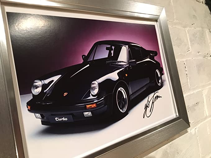 Engravia Digital Porsche 911 Turbo la Viuda eléctrica Póster Enmarcado con reproducción autógrafo Ferdinand Porsche. Elección de 3 Marcos cumpleaños, ...