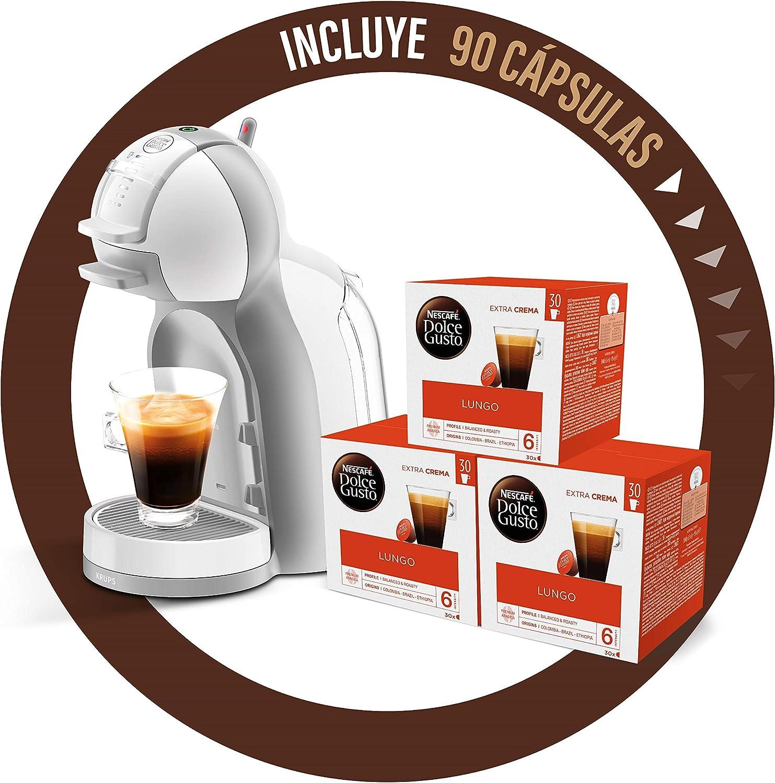 Pack Krups Dolce Gusto Mini Me KP1201 - Cafetera de cápsulas, 15 bares de presión, color blanco y gris + 90 cápsulas de café Lungo: Amazon.es: Hogar