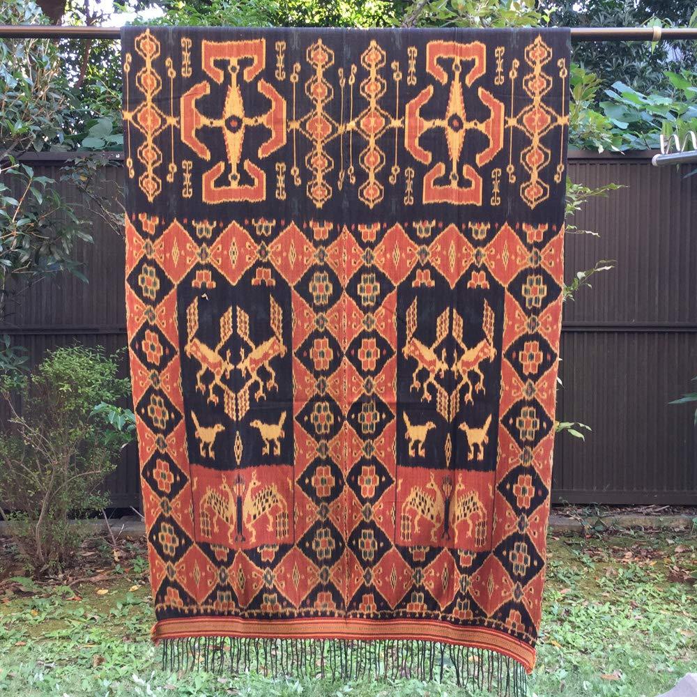 イカット スンバ島 インドネシアの本物 アンティーク 絣織物 型番1015   B07L1L7LZH
