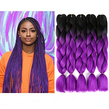 Amazon Com Vckovck 100 Kanekalon Braiding Hair Jumbo Braiding Hair Black Jumbo Braids Hair Extensions Synthetic Kanekalon Fiber Braiding Hair For Twist 24 5 Bundles Lot Black Purple Beauty