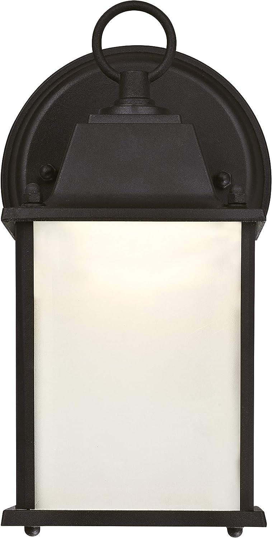 Westinghouse 61075 L/ámpara de Pared para Exteriores con LED Regulable 9 W Acabado en Negro con Cristal Esmerilado