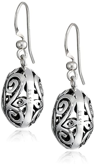 Amazon.com: Sterling Silver Filigree Oval Drop Earrings: Brighton ...