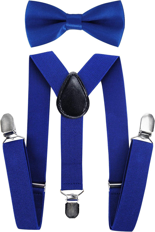 Tirantes para niños Axy con forma de Y con pajarita, con 3 pinzas extrarresistente, color liso azul azul: Amazon.es: Joyería