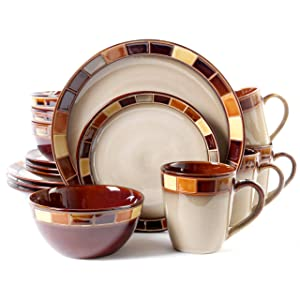GibsonCasa Estebana 16-piece Dinnerware Set Service for 4, Beige and Brown