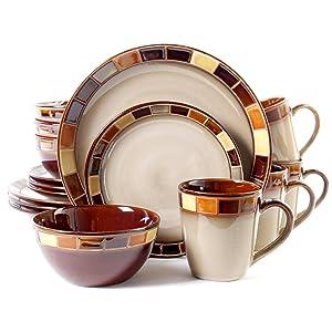 GibsonCasa Estebana 16-piece Dinnerware Set Service for 4, Beige and Brown