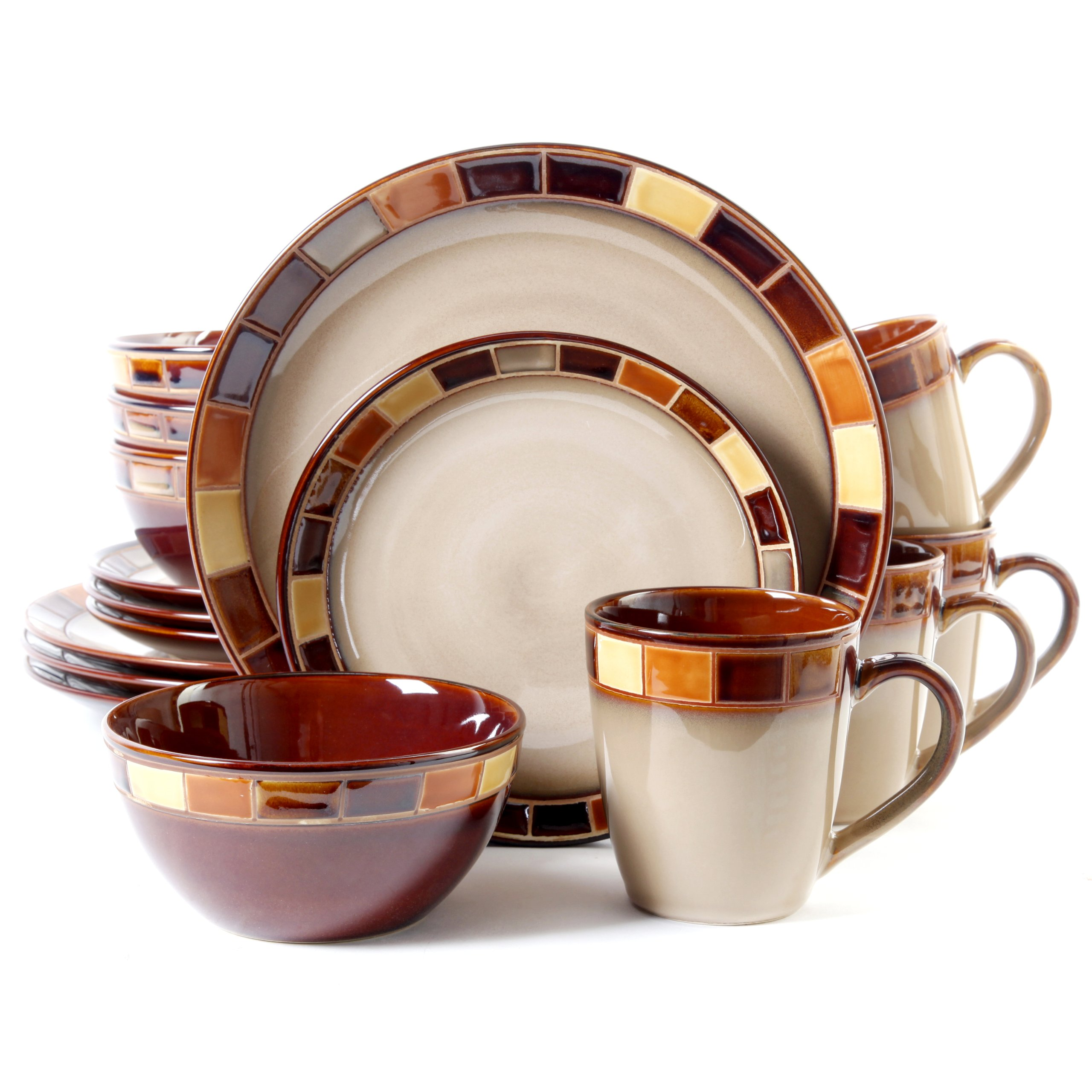 Gibson Casa Estebana 16-piece Dinnerware Set Service for 4, Beige and Brown by Gibson (Image #1)