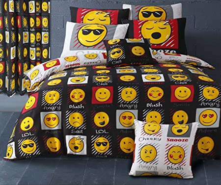 Perfect Single Bed Black / White Reversible Emoji Duvet Cover Bedding Set Smiley  Face Emoticons Easy Care