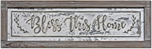 PrideCreation - 36x11 inch Bless This Home Rustic Wood Framed Metal Sign Wall Decor Art, Inset Embossed Wood and Metal Farmhouse Sign Decor, Vintage Decorative Sign, Distressed Grey/White