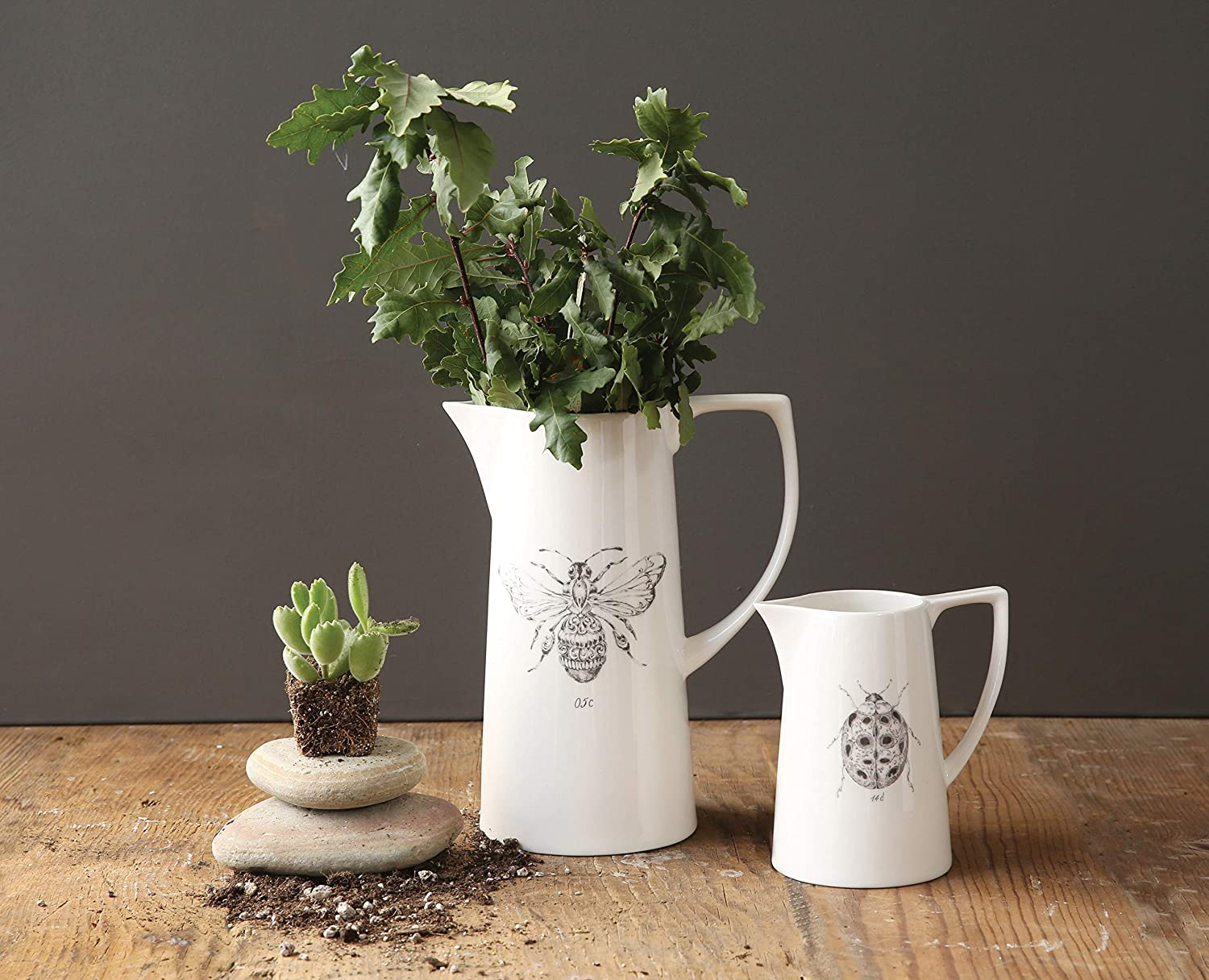 White ceramic bee pitcher has country French farmhouse charm and European country style for French inspired decorating.