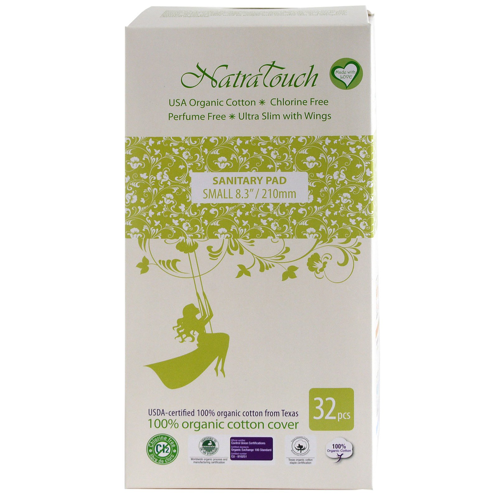 Natratouch Organic Cotton Sanitary Pads Ultra Slim with Wings 32 piece (Small)