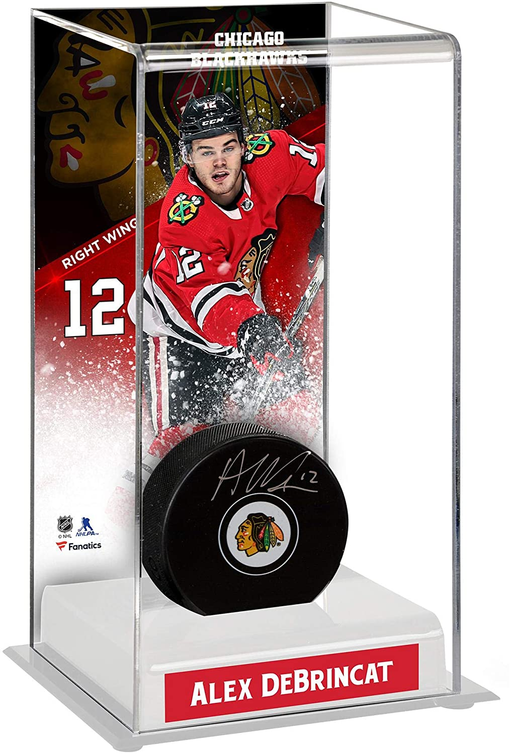 Alex DeBrincat Chicago Blackhawks Autographed Puck with Deluxe Tall Hockey Puck Case - Fanatics Authentic Certified