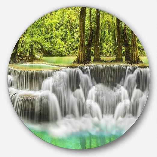 Designart Erawan Waterfall Kanchanaburi Province Circle Mt7093 C38 Disc 38x38 Disc Of 38 Inch Green White Posters Prints Amazon Com