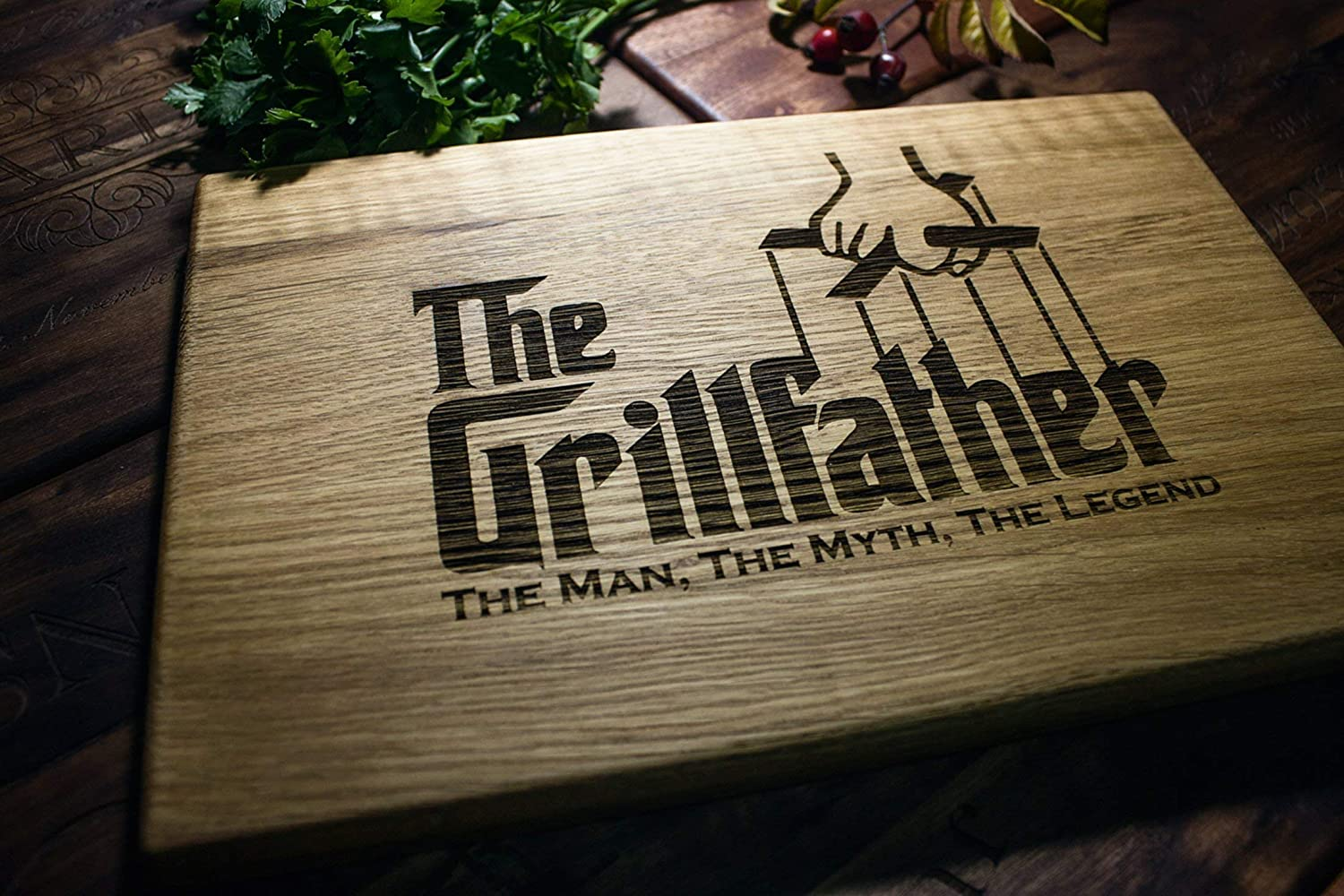 The Grill Father BBQ Dad gift Personalized Engraved Cutting Board- Wedding Gift, Anniversary Gifts, Housewarming Gift, Birthday Gift, Corporate Gift, Fathers day gift the grillfather