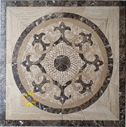 Amazoncom Floor Marble Medallion Mosaic Tile X Inch Home - 36 inch marble tile