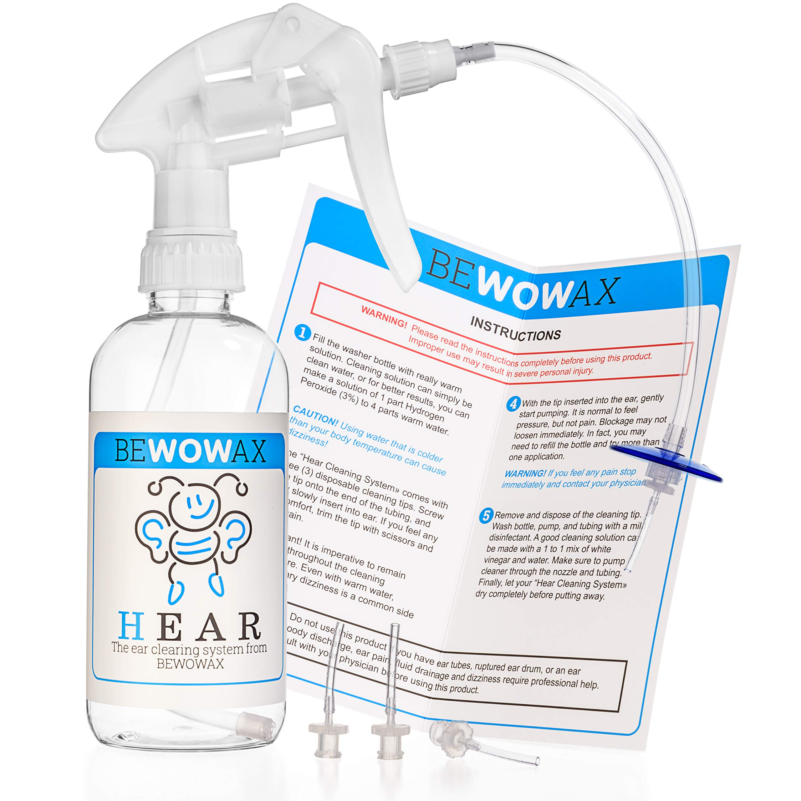 Ear-Wax Remover Irrigation Tool - Effective Ear Care Wash Wax Removal Cleaning System - Irrigate Earwax - Bottled Aid Kit - 4 Cleaning Ear Tips