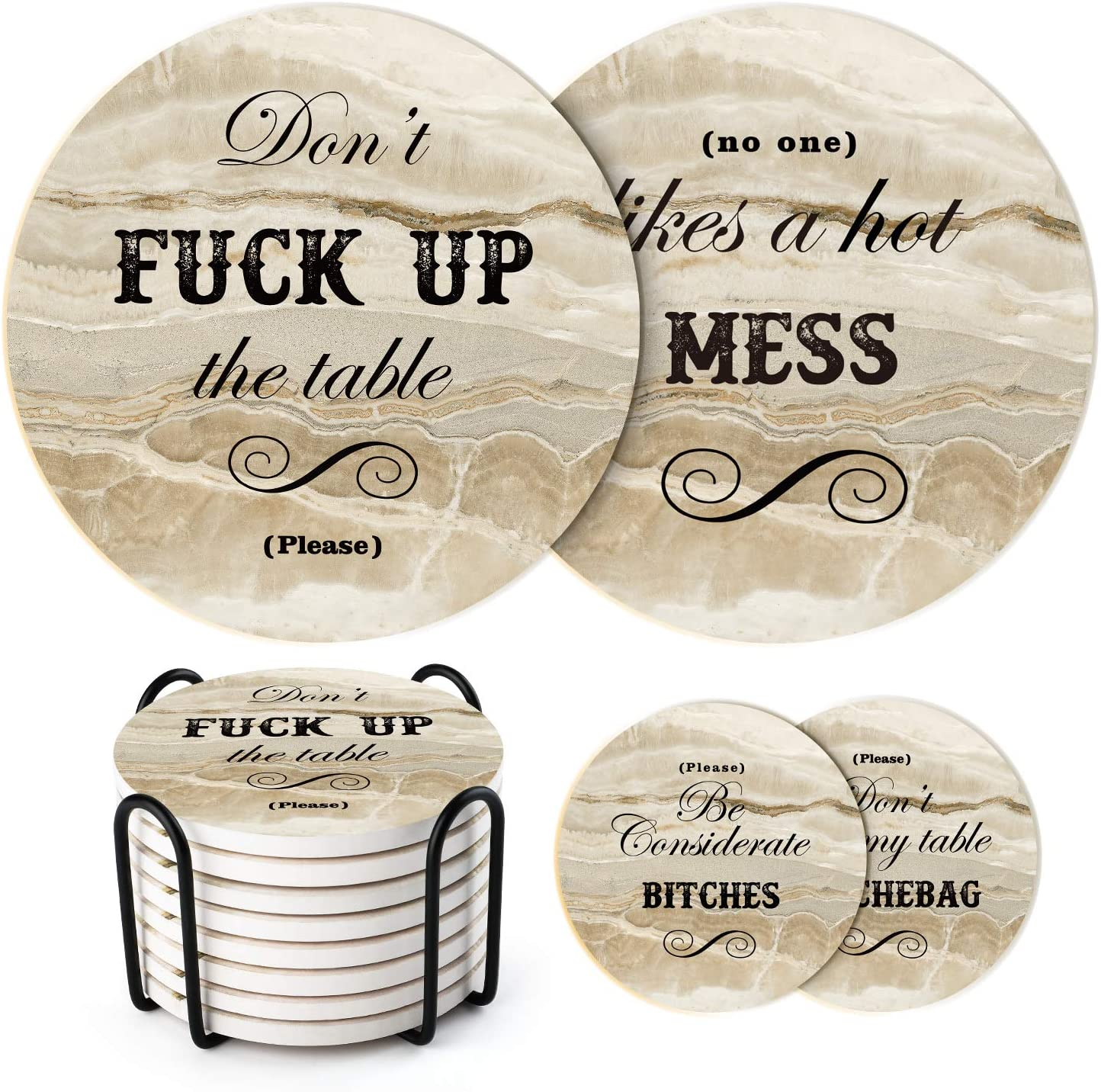 LIFVER Funny Coasters for Drinks Absorbent with Holder,8 Set Coasters with Cork Base, Ceramic Marble Style Drink Coaster with 4 Sayings for Wooden Table, Bar, Housewarming Gifts