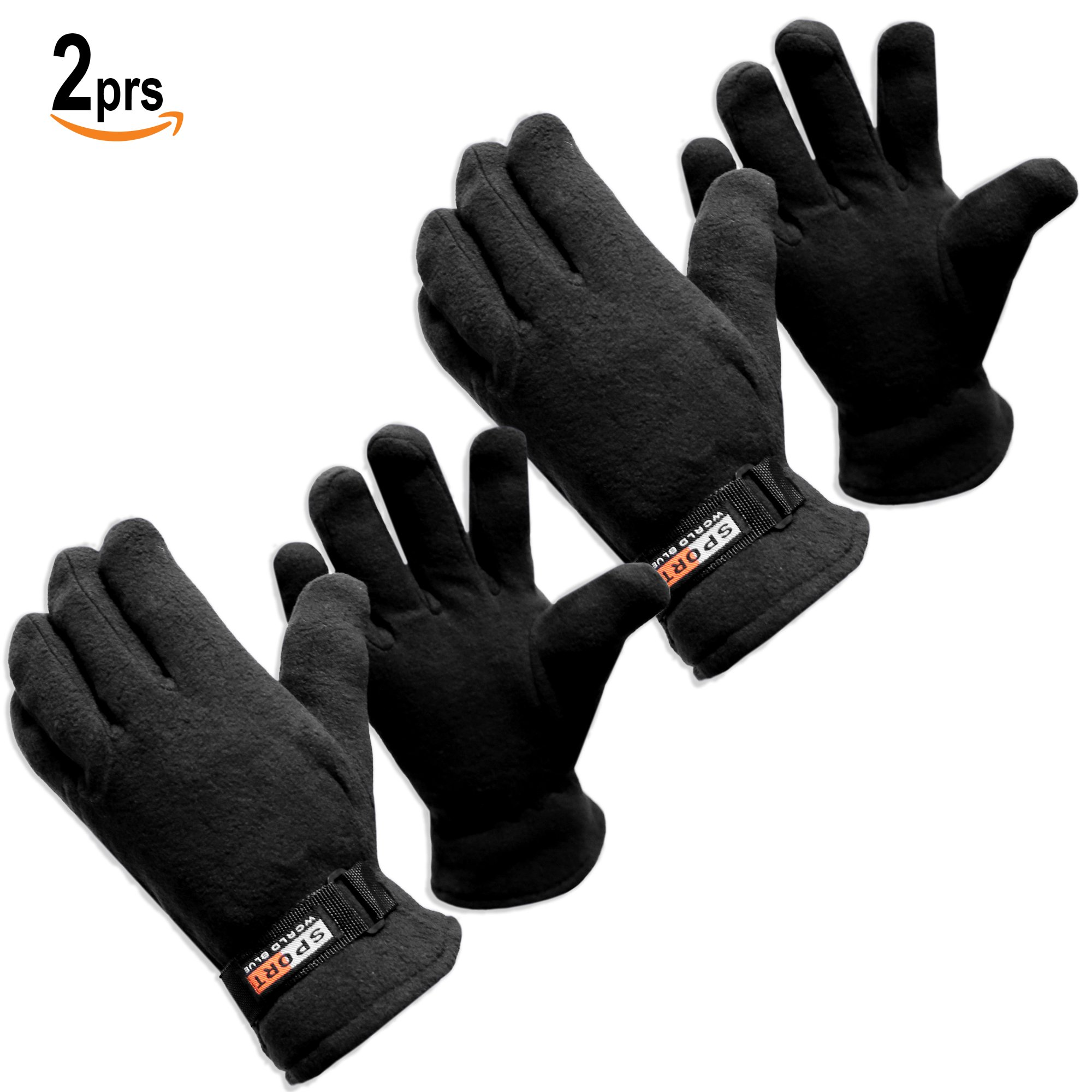 Basico Men Women Winter Fleece Gloves Light weight Various Colors Sizes (Large, 2prs Black)
