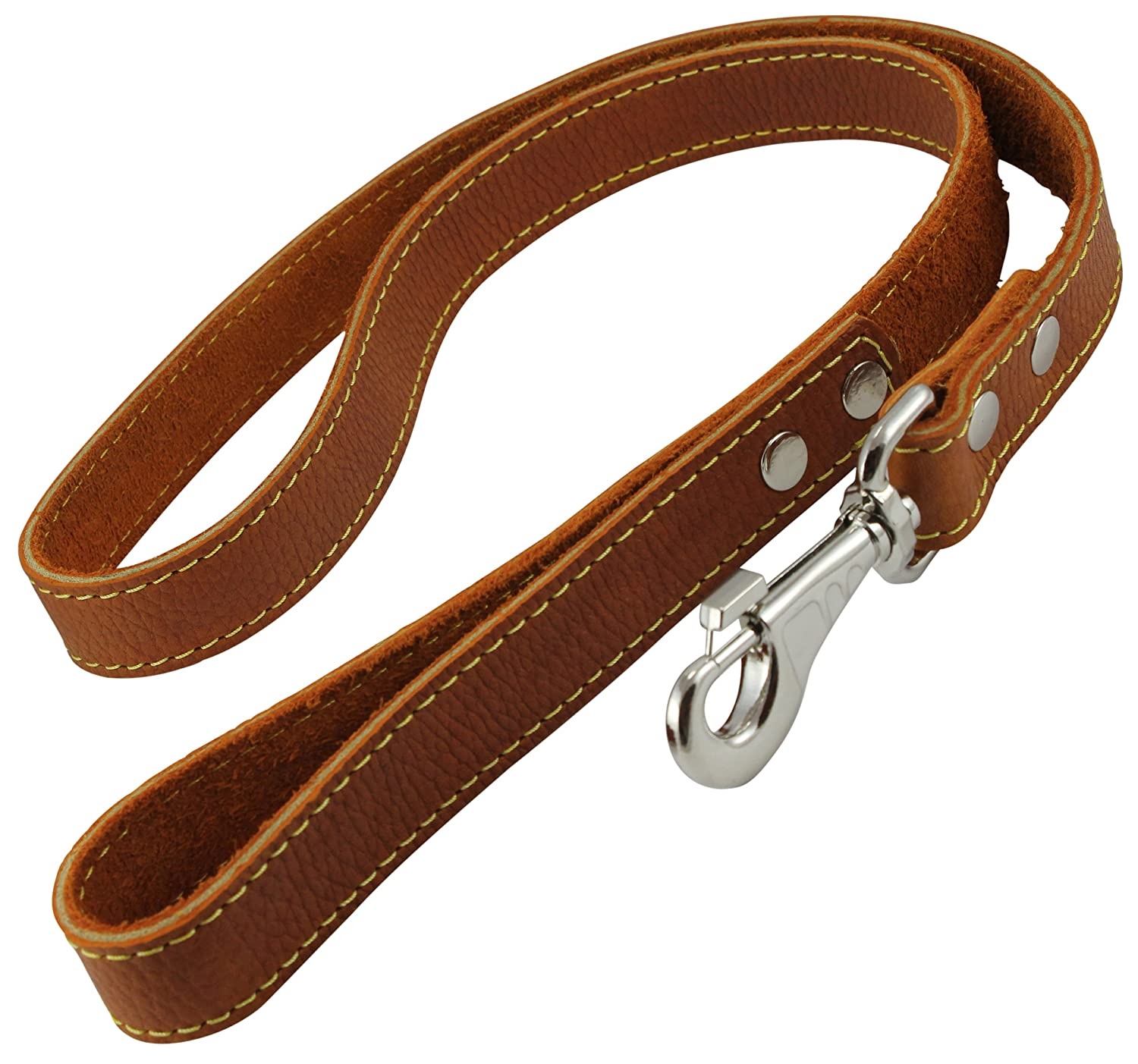 4' Classic Genuine Leather Dog Leash 1  Wide for Largest Breeds orange