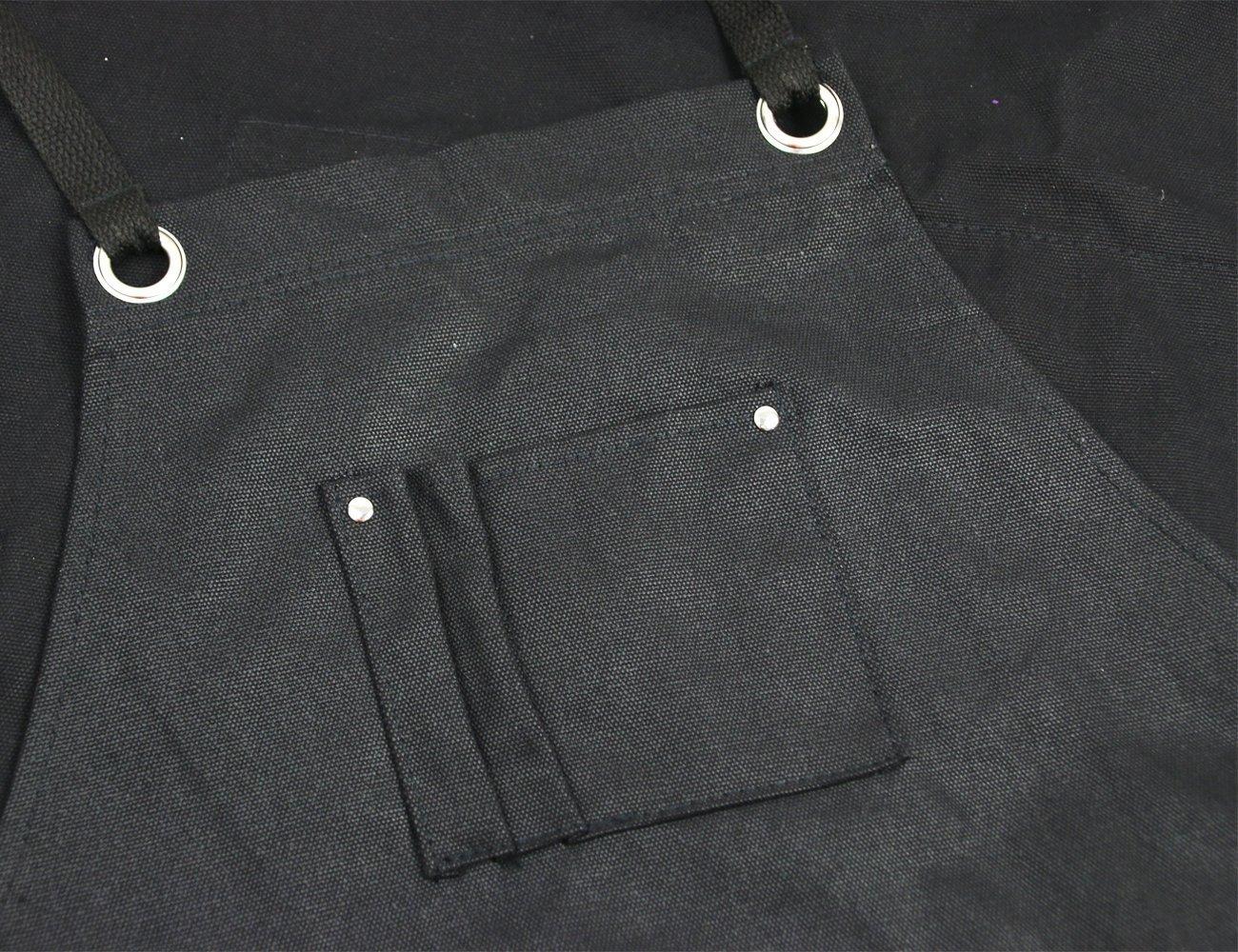 Langxun Delantal de herramientas encerado negro con bolsillos para herramientas | Delantal de trabajo ligero y duradero - Correas cruzadas y ajustables ...