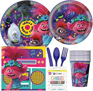 BashBox DreamWorks Trolls World Tour Birthday Party Supplies Pack Including Cake & Lunch Plates, Cutlery, Cups, Napkins (8 Guests) Plus BONUS BashBox Candles