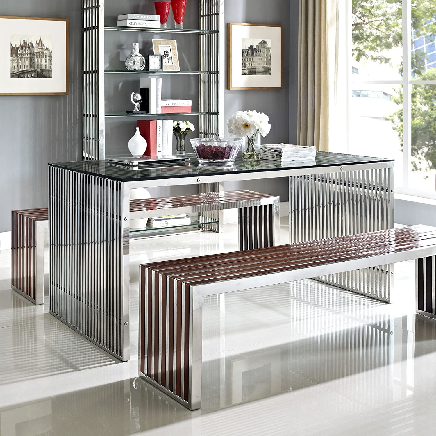 amazoncom modway gridiron stainless steel dining table in silver kitchen dining - Silver Dining Table