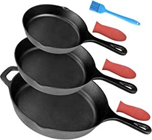 """Pre-Seasoned Cast Iron Skillet Set of 3 