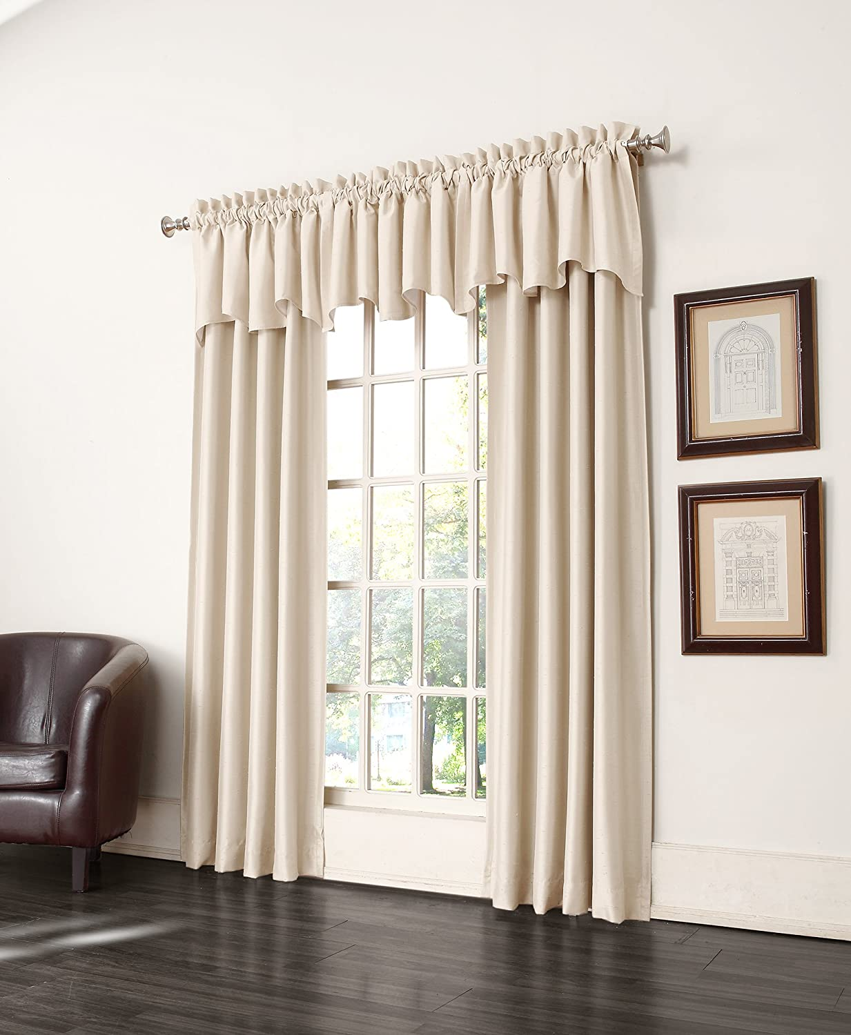 Amazon Sun Zero Antique Satin Room Darkening Curtain Panel 50 By 84 Inch Ivory Home Kitchen
