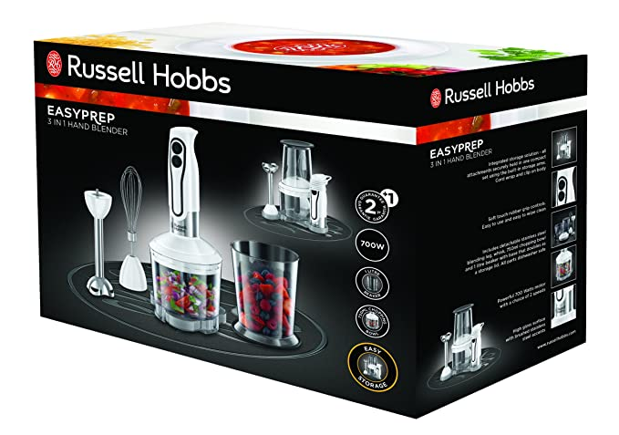 Russell Hobbs 22980-56 Batidora de Mano Easy Prep 3 En 1, Accesorio para Picar, 700 W, 2 Velocidades, Acero Inoxidable, Blanco: Amazon.es: Hogar
