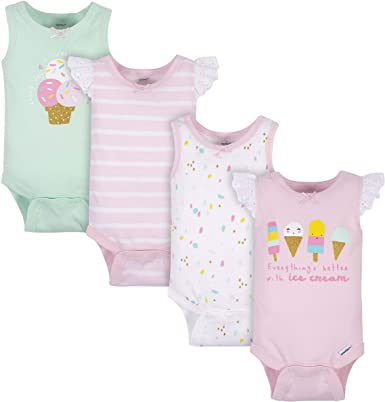 Sleeveless Baby Bodysuits Pack of 2 100/% Cotton Pink Flamingo White Skin Safe