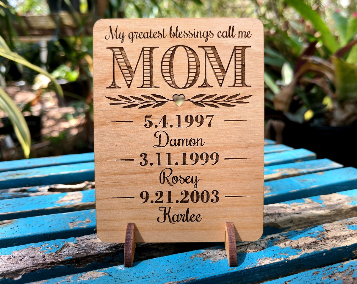 Unique Mom Greeting Card Personalized Mothers Day Gift Mom Card for Birthday Christmas Mother of The Bride Thank You Cards Handmade Display Alder Wood Card (Mom) by Greeting Card-by-StockingFactory (Image #7)