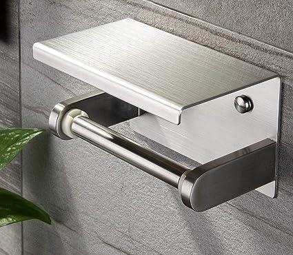 Ruicer Portarrollos Papel Higiénico Portarrollos Baño Acero Inoxidable Porta Rollo Papel Higienico- Adhesivo y Tornillos