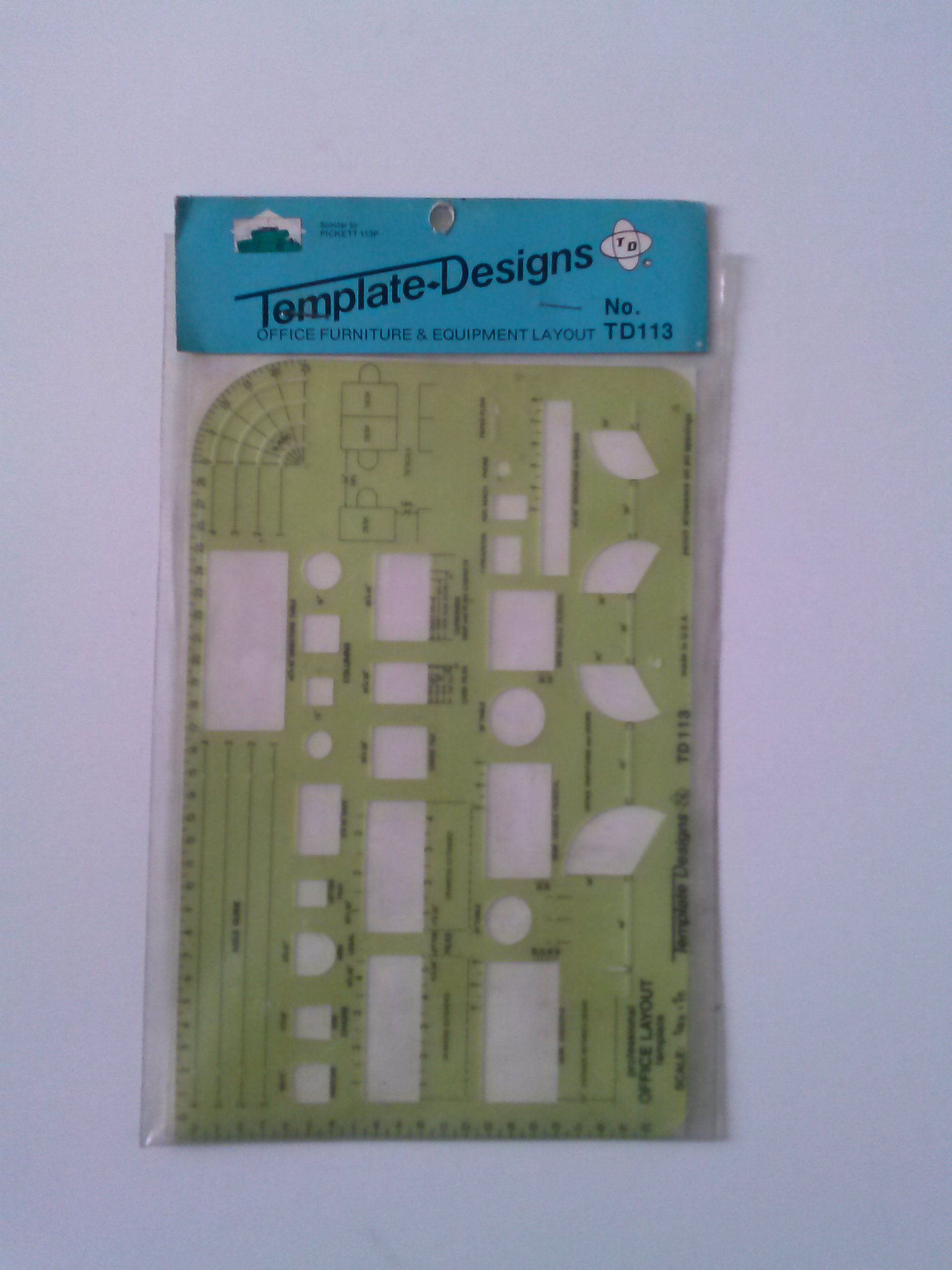 Template Designs RD113 Professional Office Layout Scale 1/4''=1 Ft. Made in USA Similar to Pickett 113P