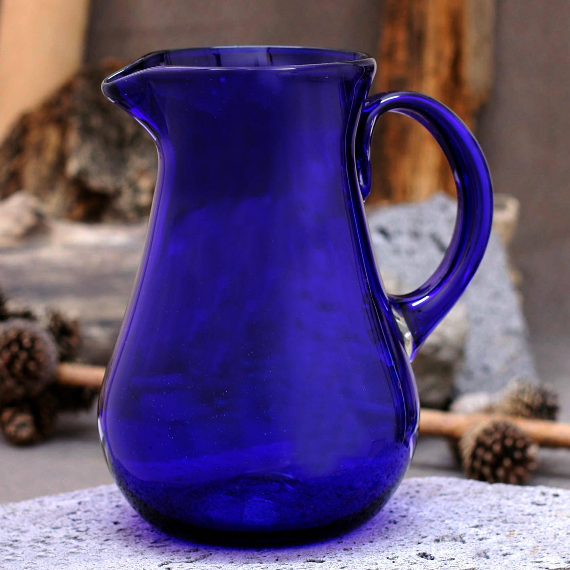 NOVICA Large Blue Hand Blown Glass Pitcher for Water, Margaritas, Lemonade, 82 oz, 'Cobalt Charm' by NOVICA (Image #2)