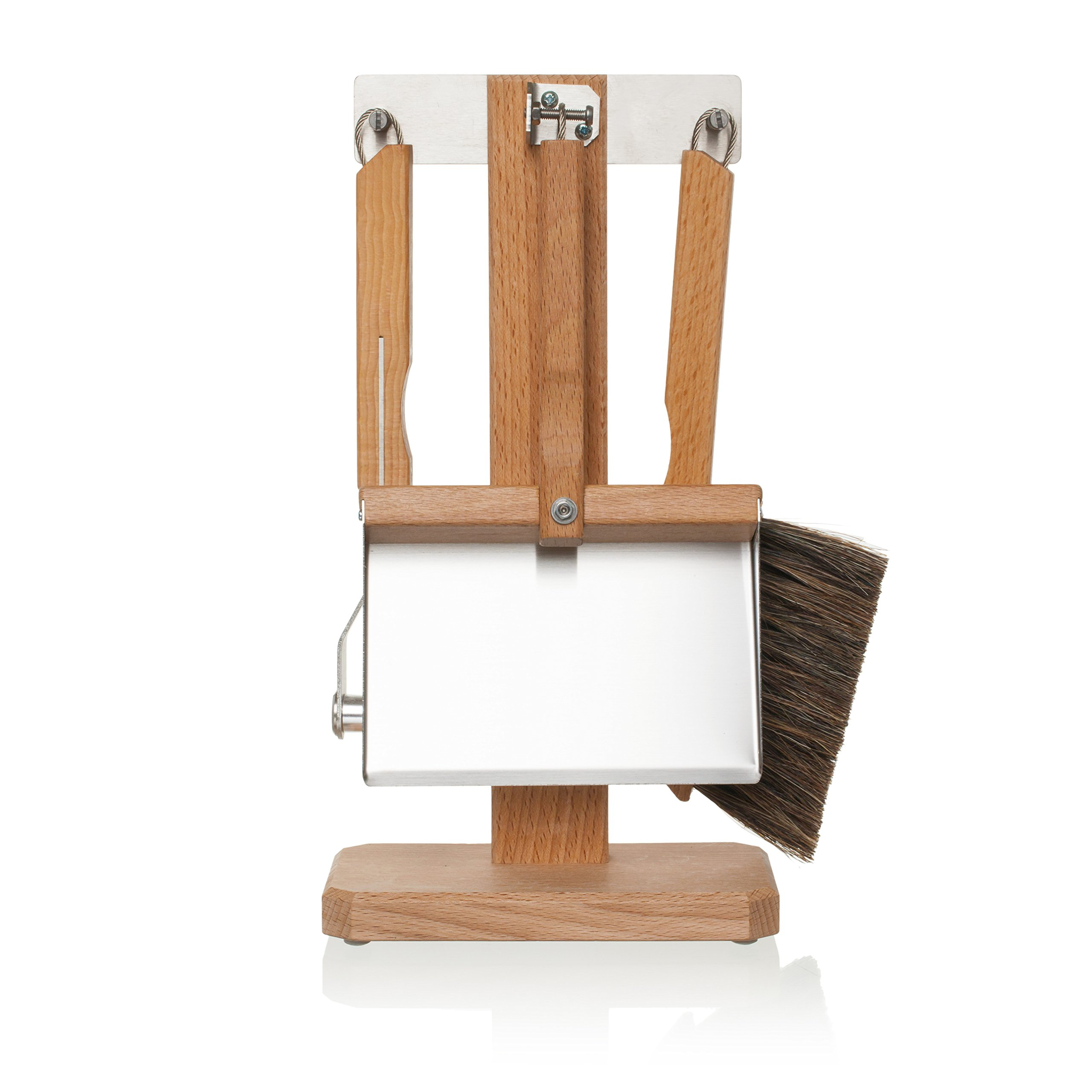 Bürstenhaus Redecker 4-Piece Oiled Beechwood and Stainless Steel Espresso Set with Pig Bristle and Horsehair Coffee Brushes