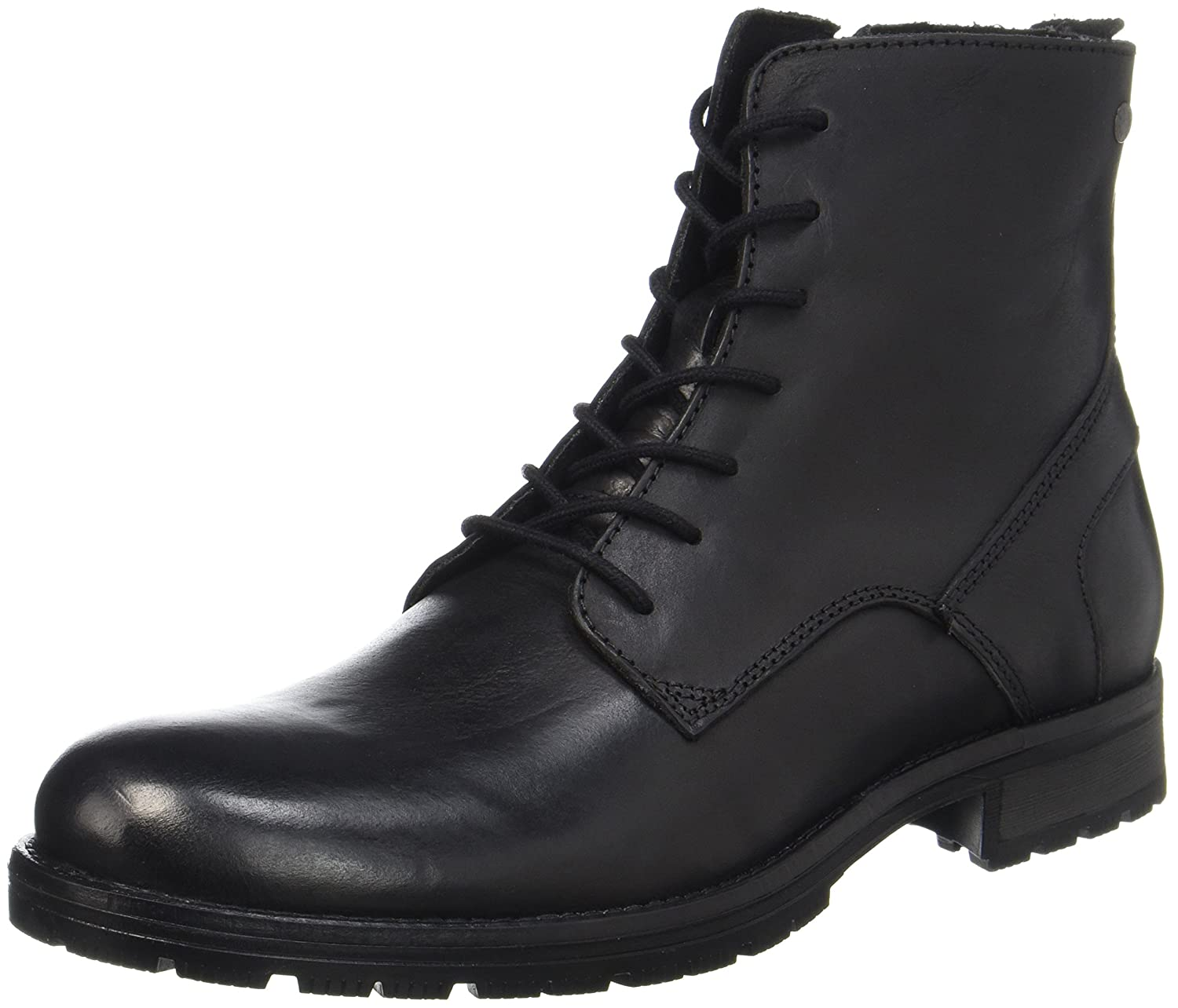 TALLA 44 EU. Jack & Jones Jfworca Leather Black, Botas Clasicas para Hombre