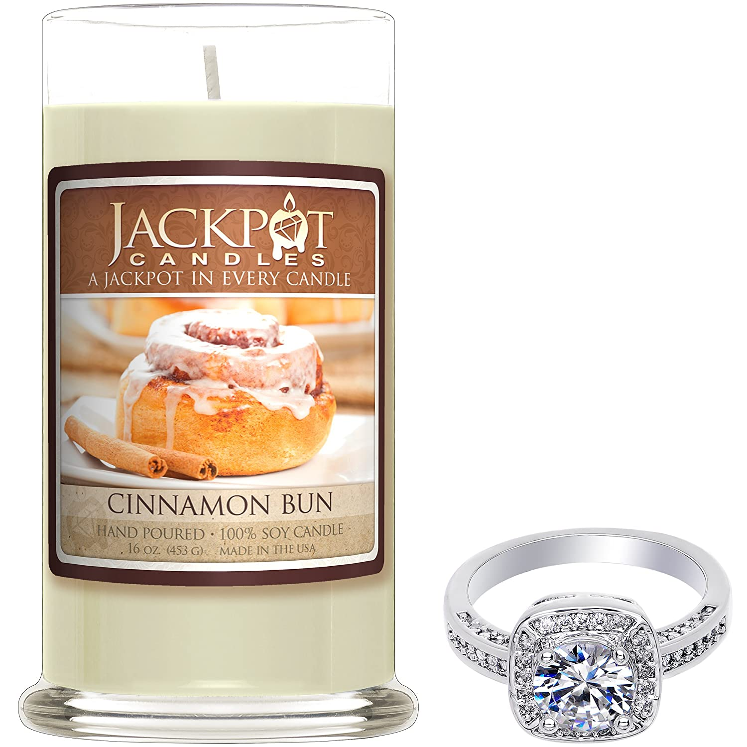 Cinnamon Bun Candle with Ring Inside (Surprise Jewelry Valued at $15 to $5,000) Ring Size 9 Jackpot Candles CAN-190-RNG-9