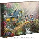 Thomas Kinkade Disney Mickey and Minnie Sweetheart Bridge 8 x 10 Gallery Wrapped Canvas