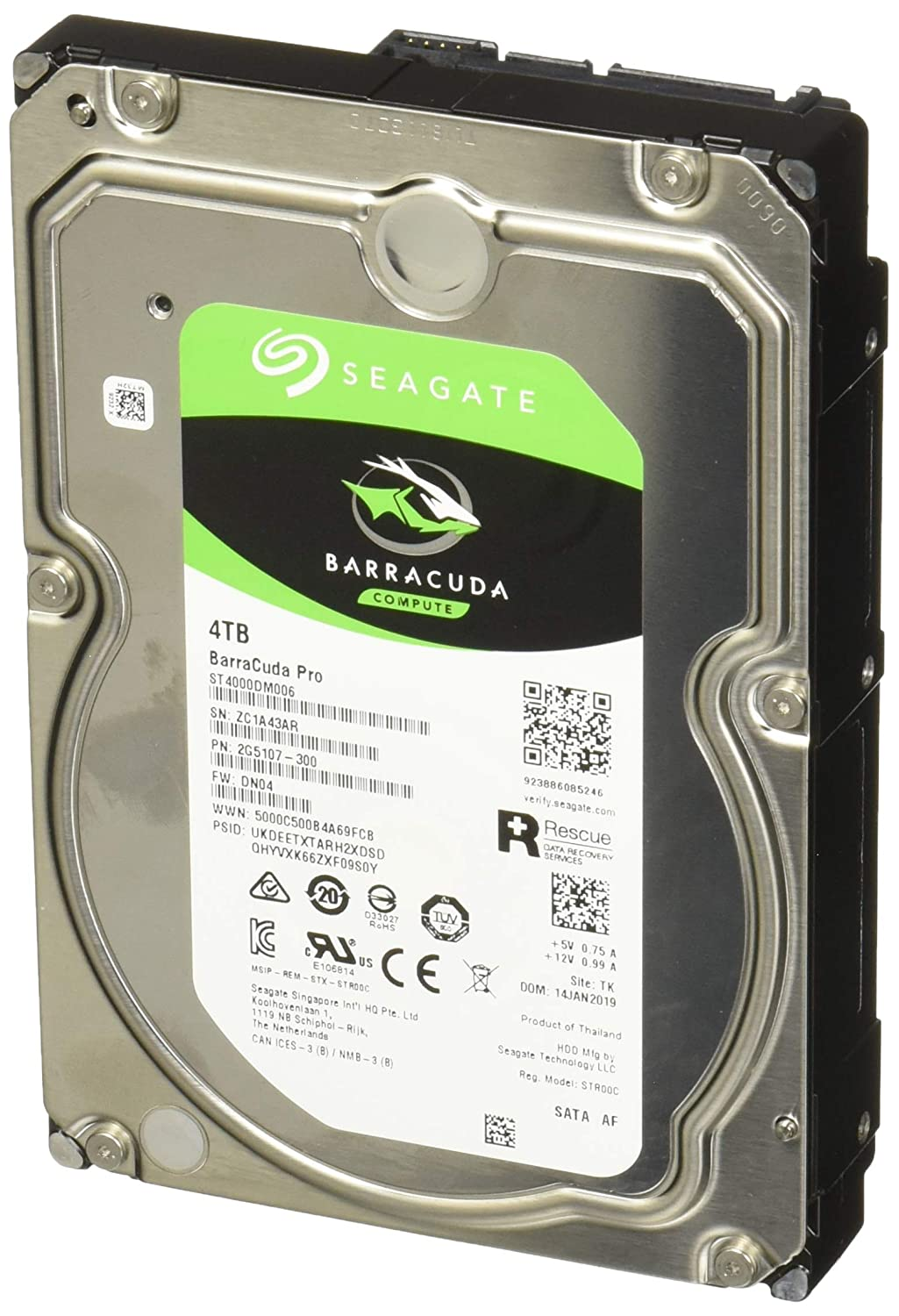 Seagate BarraCuda Pro 4TB Internal Hard Drive Performance HDD – 3.5 Inch SATA 6 Gb/s 7200 RPM 128MB Cache for Computer Desktop PC Laptop, Data Recovery – Frustration Free Packaging (ST4000DM006)